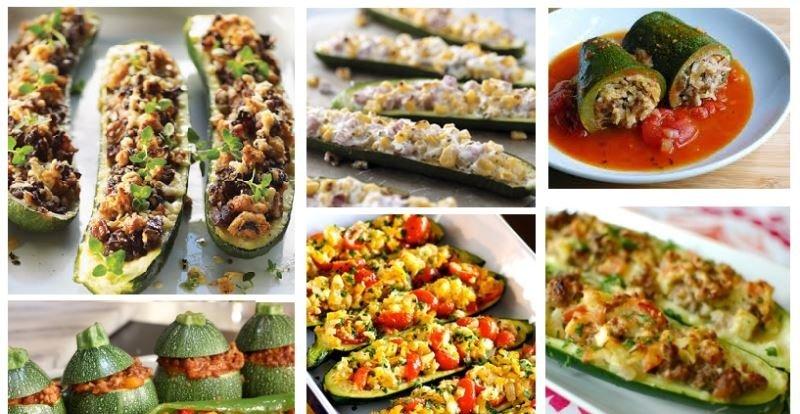 рецепт фаршированных кабачков с колбасой в духовке