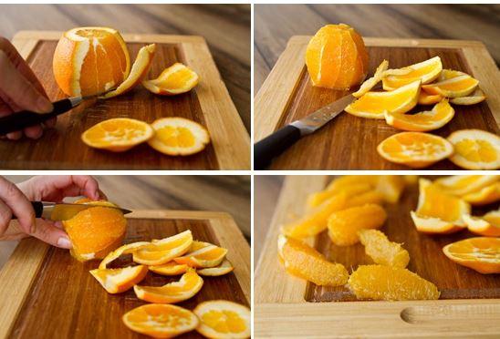 Вырезаем дольки апельсина для салата