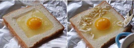 Вливаем яйцо в центр хлебца