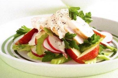Салат с сельдереем и курицей готов