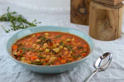 Постынй суп Минестроне с фасолью и макаронами