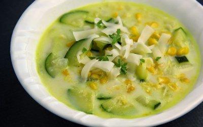 Суп из кабачков с кукурузой готов