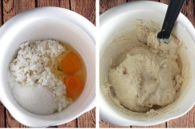 Смешиваем ингредиенты для сырников