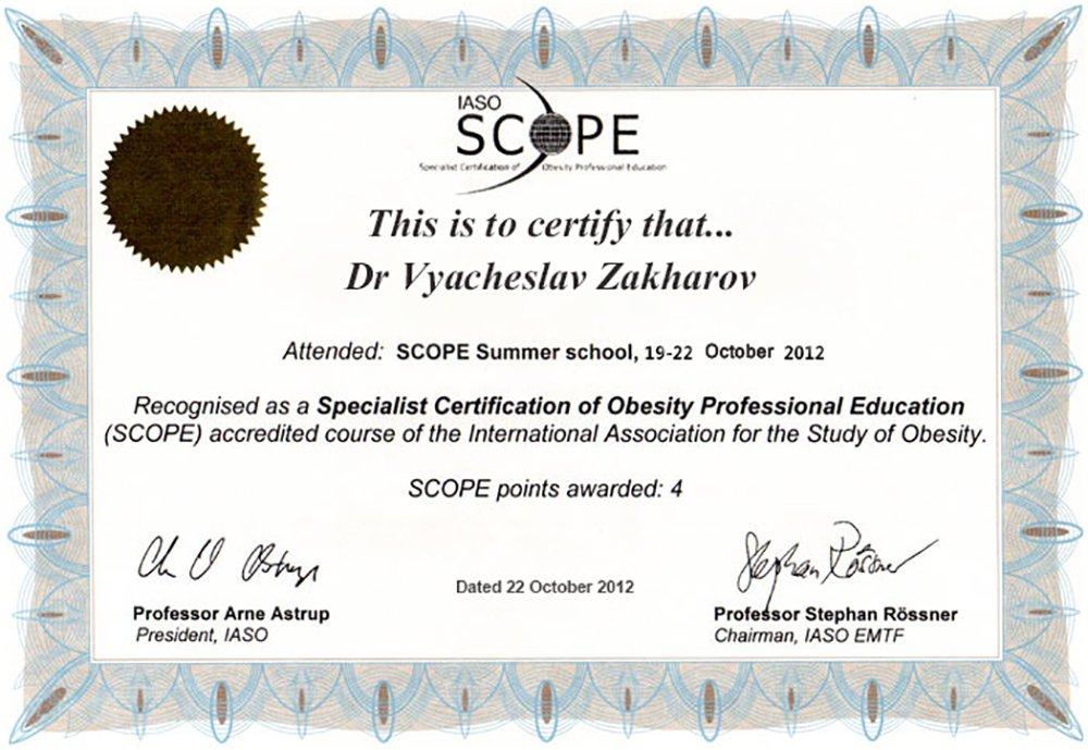 Вячеслав Захаров - SCOPE - сертификат