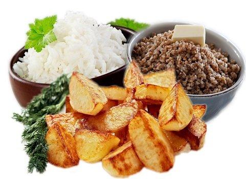 Три гарнира: рис, гречка, картофель фри